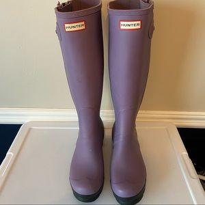 Purple and Black Tall Hunter Rain Boots size 9